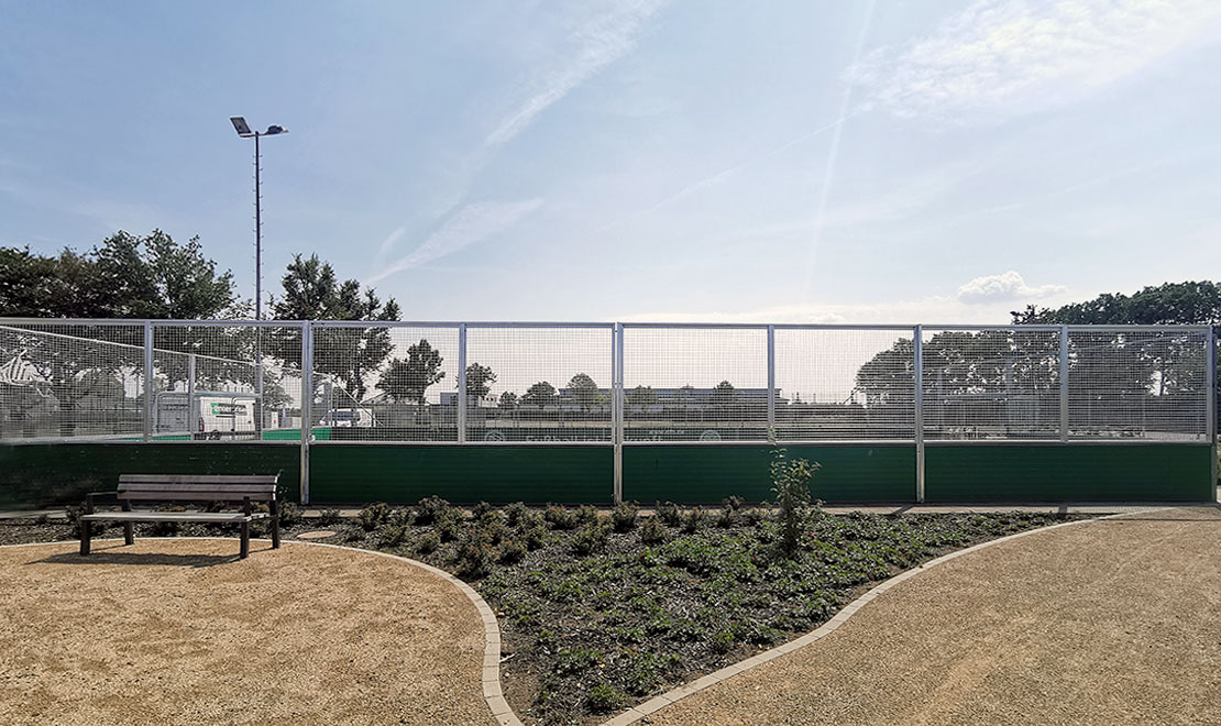 DFB mini-pitch equipped with vandalism-proof mesh and goals